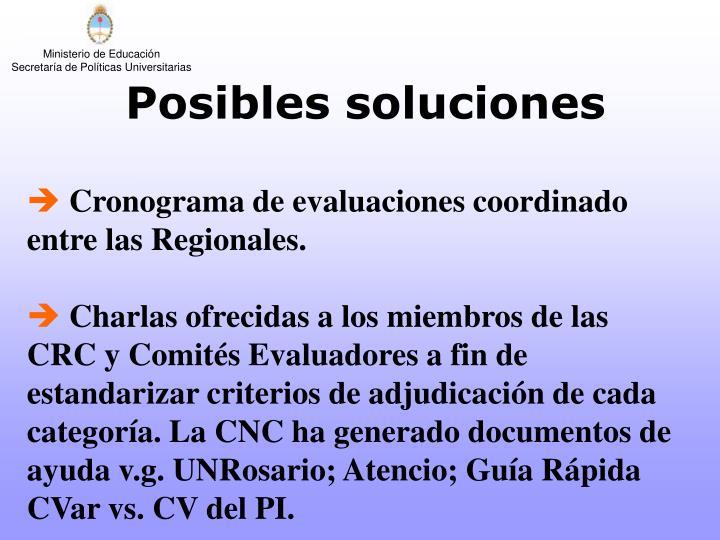 Cronograma de evaluaciones coordinado entre las Regionales.