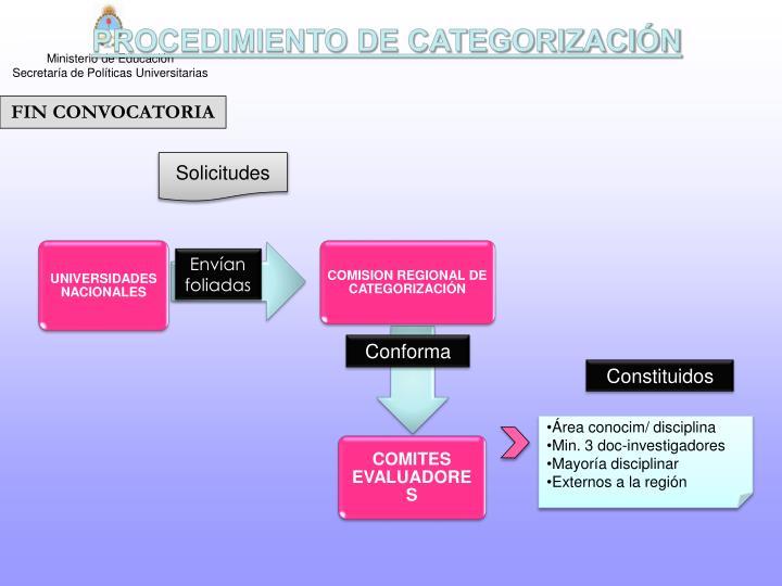PROCEDIMIENTO DE CATEGORIZACIÓN