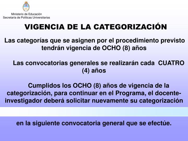 VIGENCIA DE LA CATEGORIZACIÓN