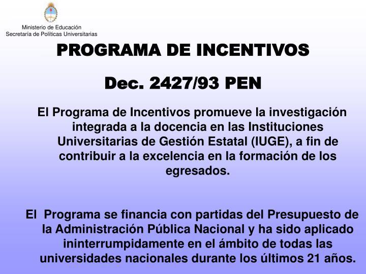 PROGRAMA DE INCENTIVOS
