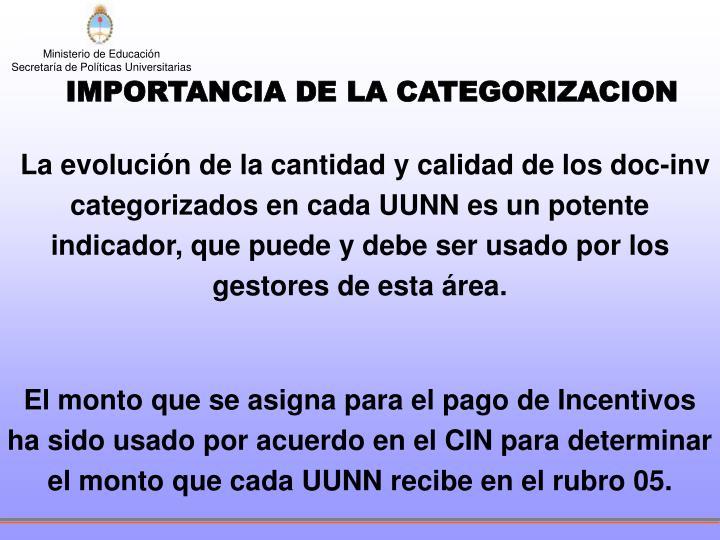 IMPORTANCIA DE LA CATEGORIZACION