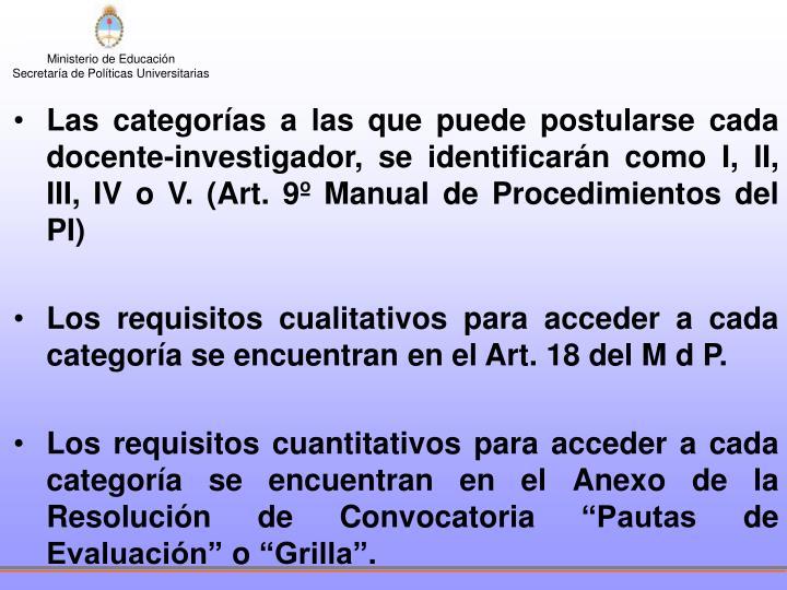 Las categorías a las que puede postularse cada docente-investigador, se identificarán como I, II, III, IV o V. (Art. 9º Manual de Procedimientos del PI)