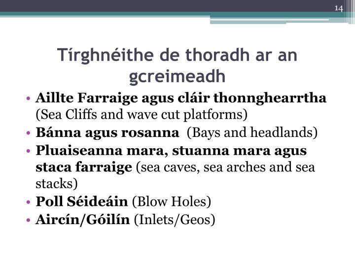 Tírghnéithe de thoradh ar an gcreimeadh