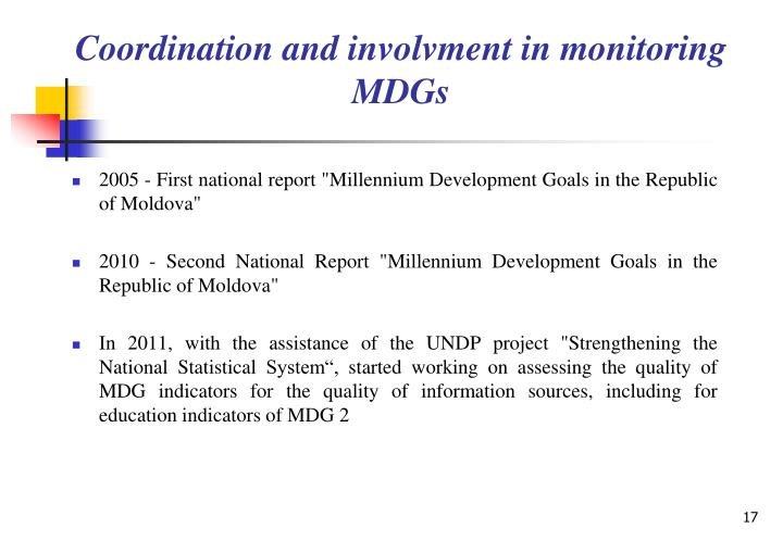 Coordination and involvment in monitoring MDGs