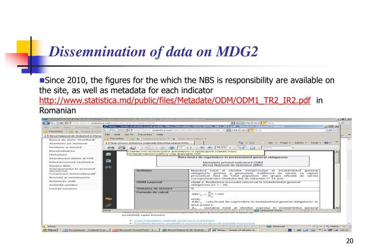 Dissemnination of data on MDG2