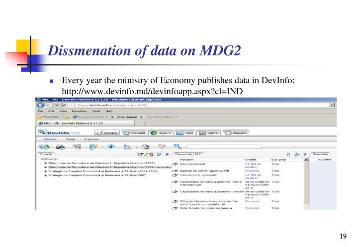 Dissmenation of data on MDG2
