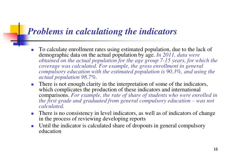 Problems in calculationg the indicators