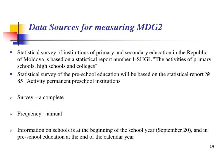 """Statistical survey of institutions of primary and secondary education in the Republic of Moldova is based on a statistical report number 1-SHGL """"The activities of primary schools, high schools and colleges"""""""