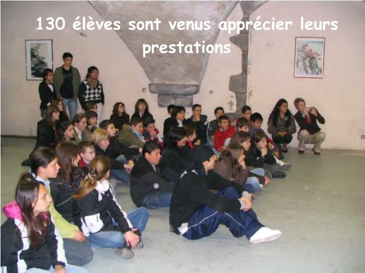 130 élèves sont venus apprécier leurs prestations