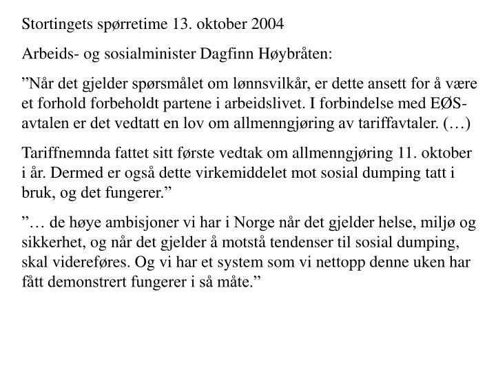 Stortingets spørretime 13. oktober 2004