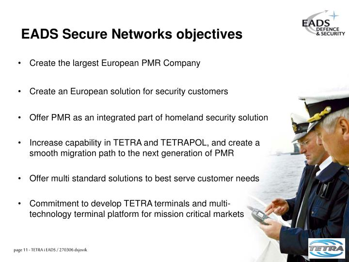 EADS Secure Networks objectives