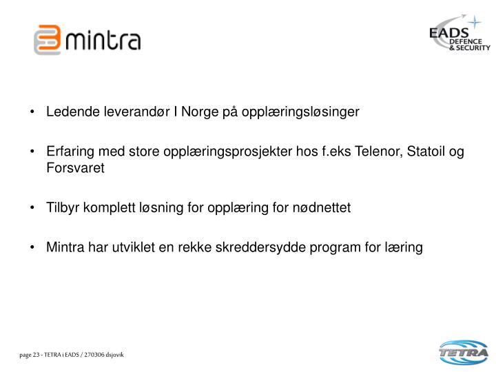 Ledende leverandør I Norge på opplæringsløsinger