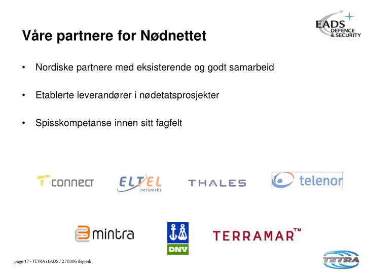 Våre partnere for Nødnettet