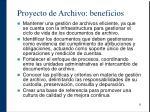 proyecto de archivo beneficios
