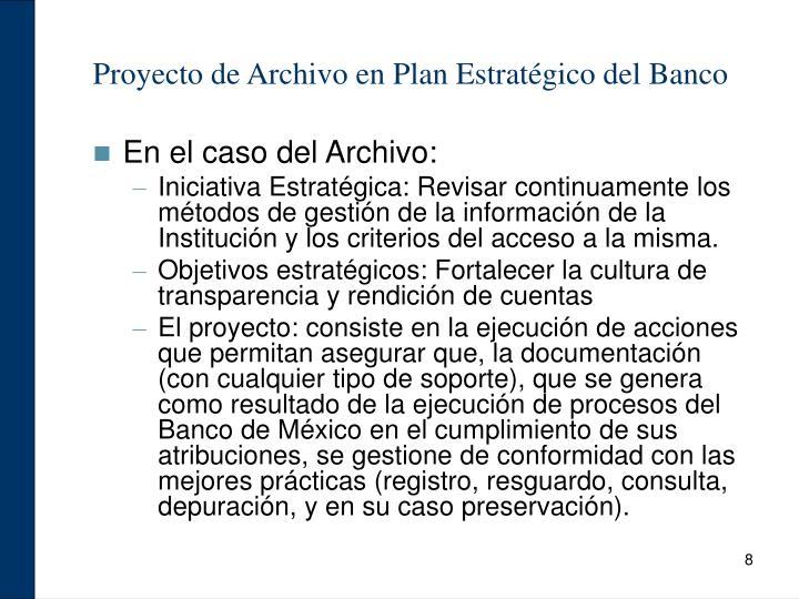 Proyecto de Archivo en Plan Estratégico del Banco