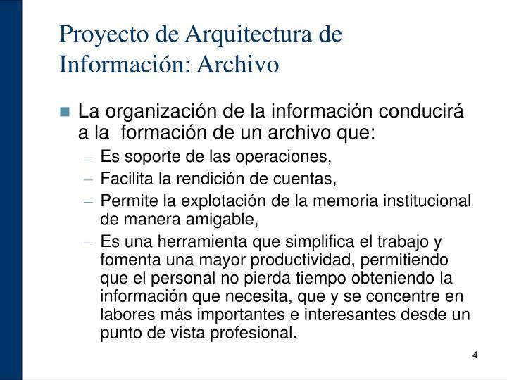 Proyecto de Arquitectura de Información: Archivo