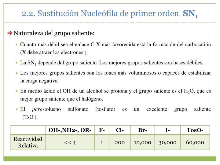 2.2. Sustitución Nucleófila de primer orden