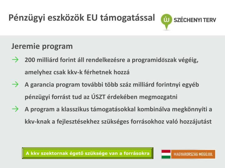 Pénzügyi eszközök EU támogatással