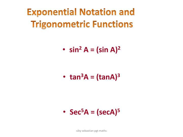 Exponential Notation and
