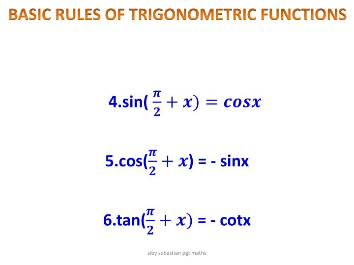 BASIC RULES OF TRIGONOMETRIC FUNCTIONS
