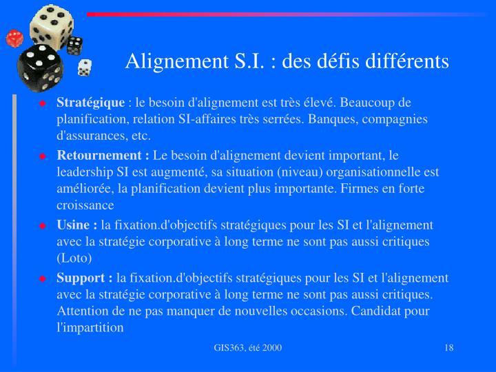 Alignement S.I. : des défis différents