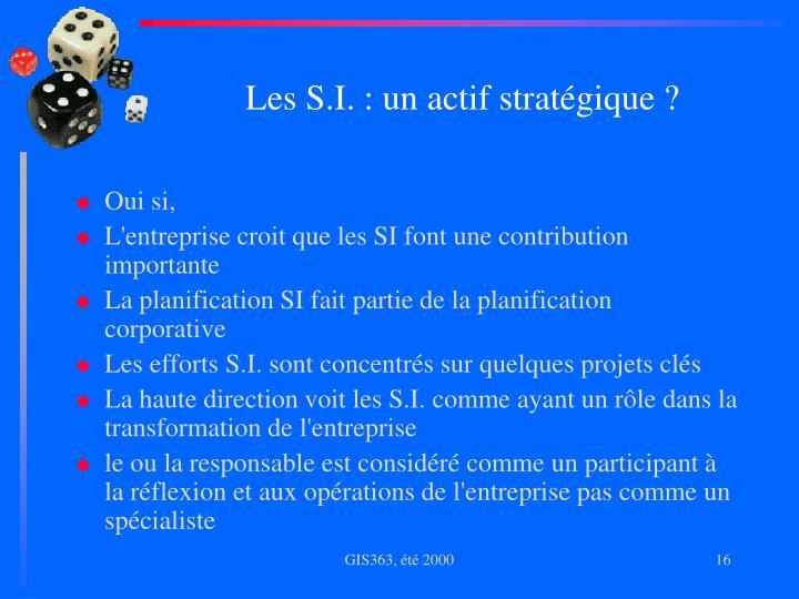 Les S.I. : un actif stratégique ?