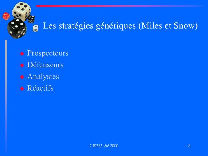 Les stratégies génériques (Miles et Snow)
