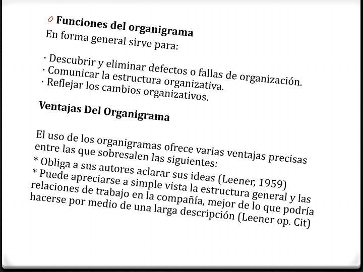 Funciones del organigrama
