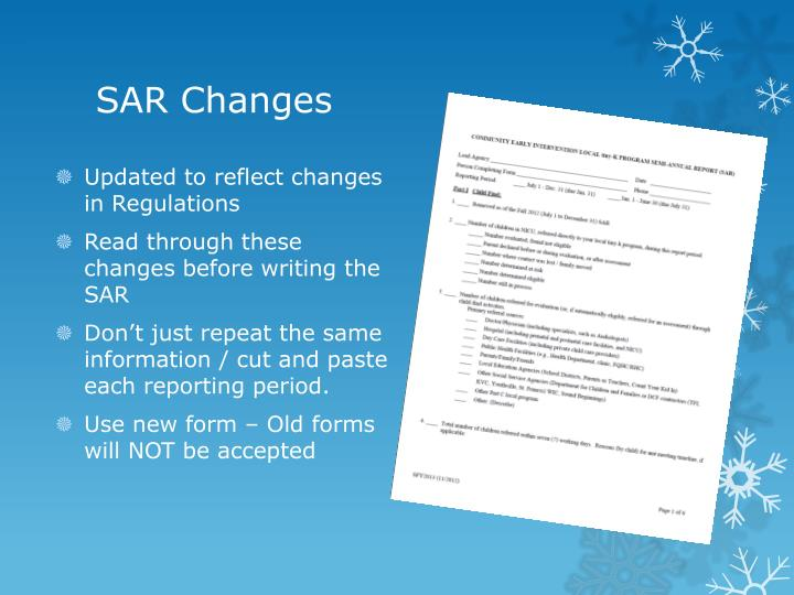 SAR Changes