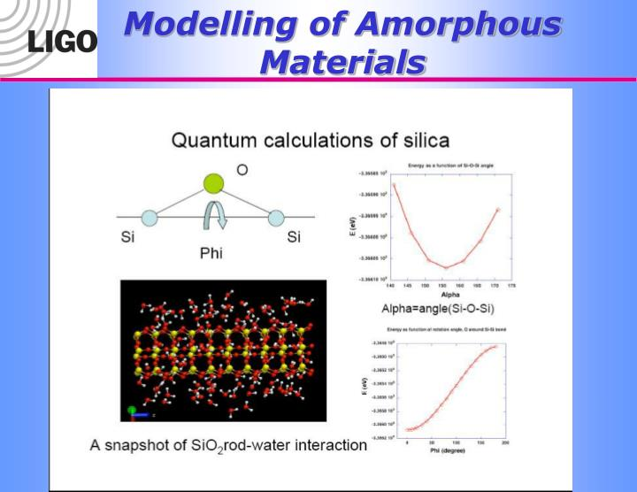 Modelling of Amorphous Materials