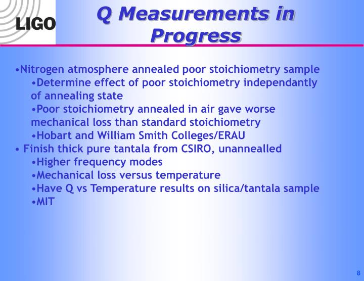 Q Measurements in Progress