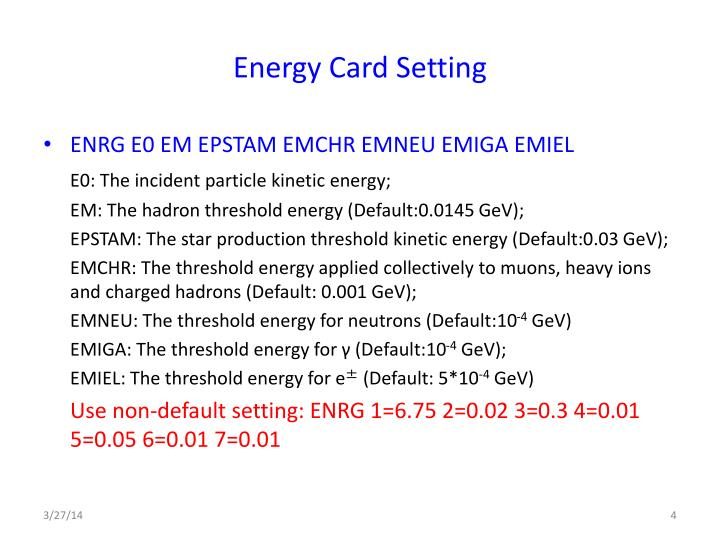 Energy Card Setting