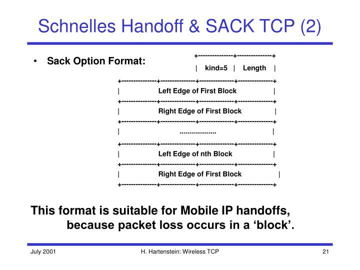 Schnelles Handoff & SACK TCP (2)