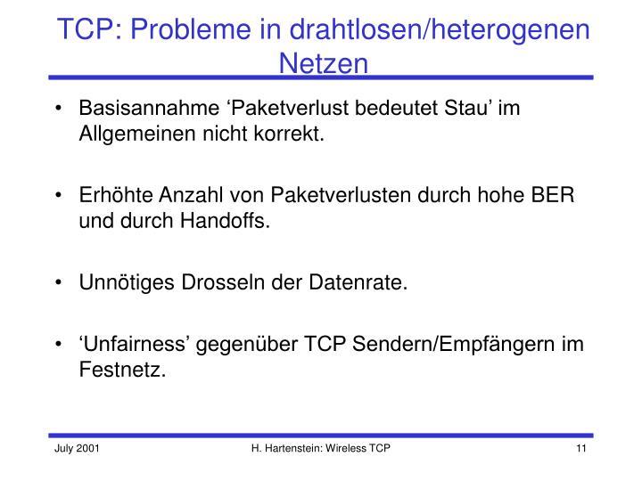 TCP: Probleme in drahtlosen/heterogenen Netzen