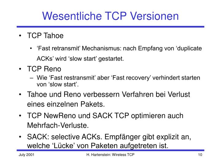 Wesentliche TCP Versionen
