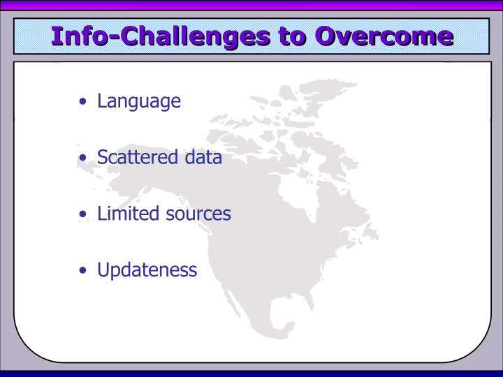Info-Challenges to Overcome