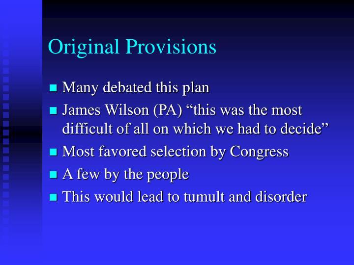 Original Provisions