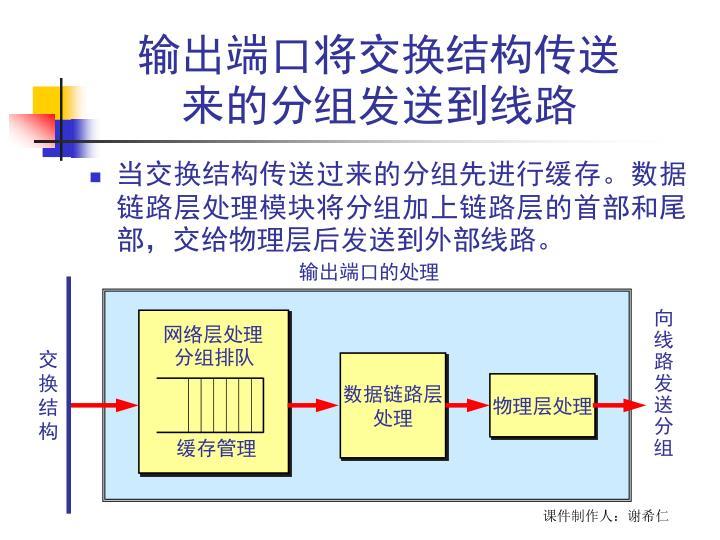 输出端口将交换结构传送来的分组发送到线路