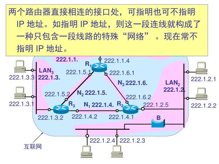两个路由器直接相连的接口处,可指明也可不指明