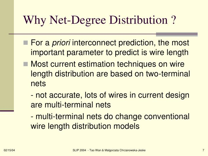 Why Net-Degree Distribution ?
