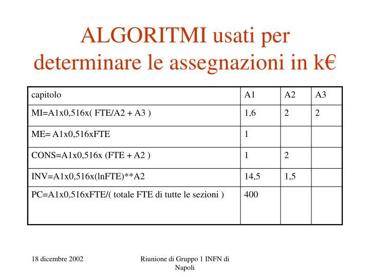 ALGORITMI usati per determinare le assegnazioni in k