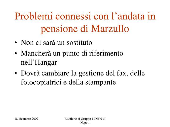 Problemi connessi con l'andata in pensione di Marzullo