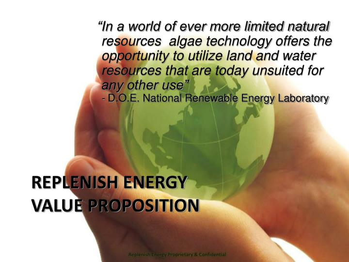 Replenish energy value proposition