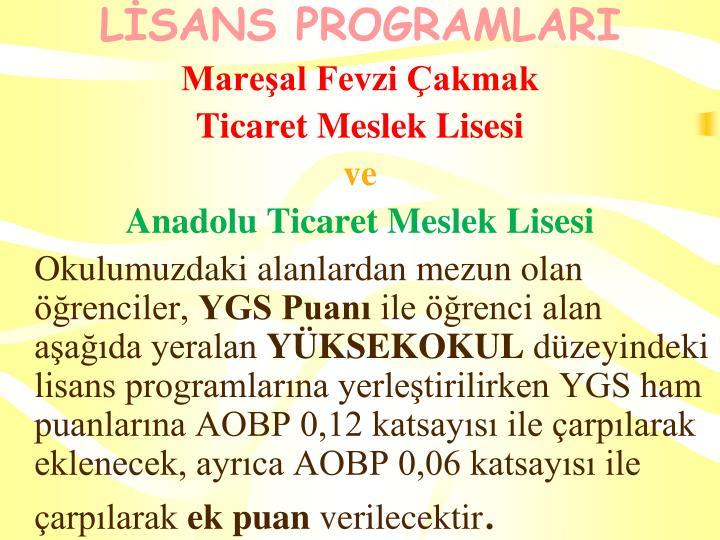 LİSANS PROGRAMLARI