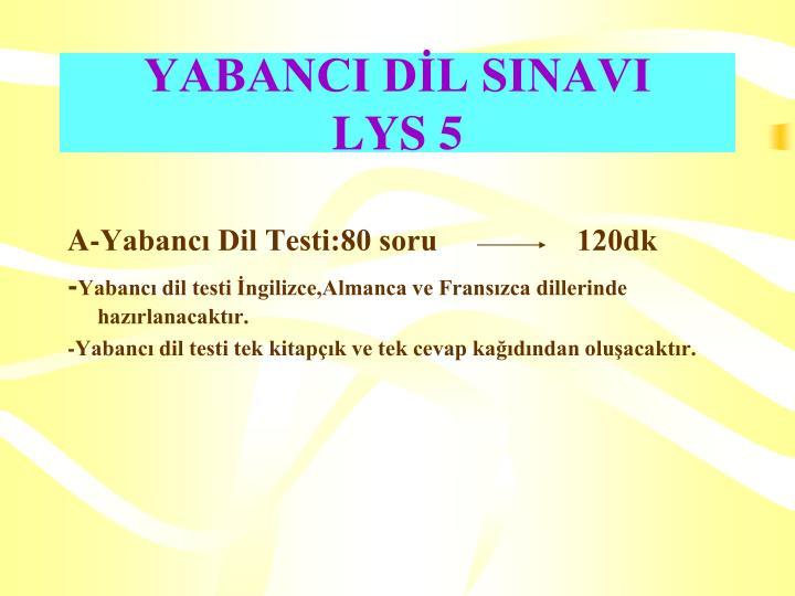 YABANCI DİL SINAVI