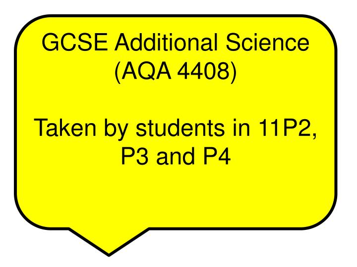 GCSE Additional Science (AQA 4408)