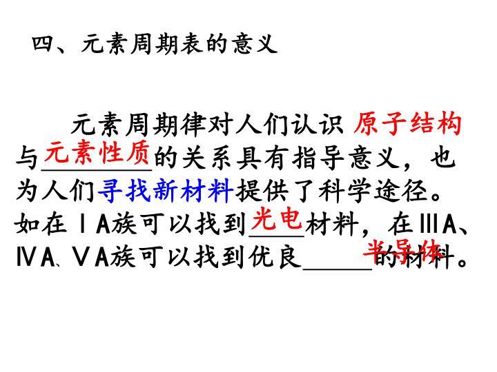 四、元素周期表的意义