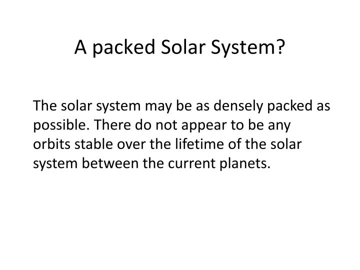 A packed Solar System?