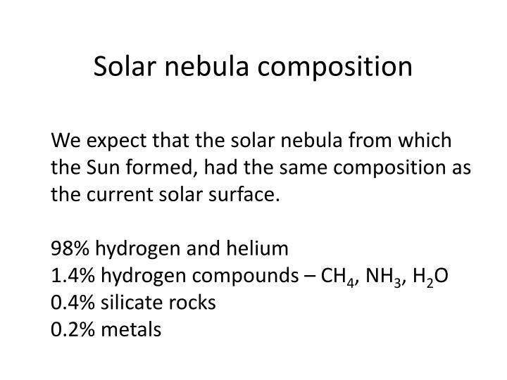 Solar nebula composition