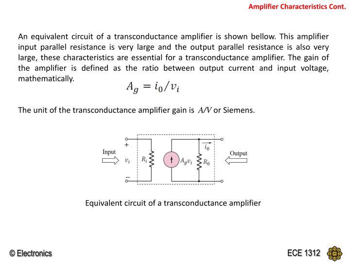 Amplifier Characteristics Cont.